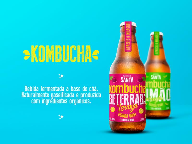 Branding and Packaging for Santa Kombucha health craft bottle fresh product branding label design bottle design kombucha design santa kombucha kombucha packaging branding