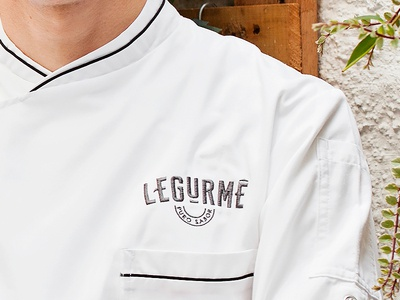 Embroidered logotype on apron