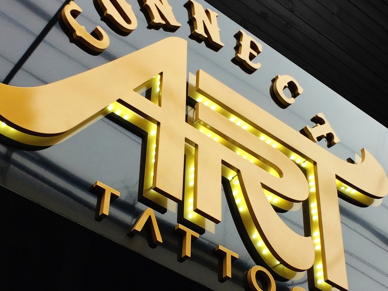 Exterior sign for ConnectArt Tattoo sign tattoo studio identity tattoo logo tattoo tattoo studio brand strategy branding identity design branding company industria branding design signage