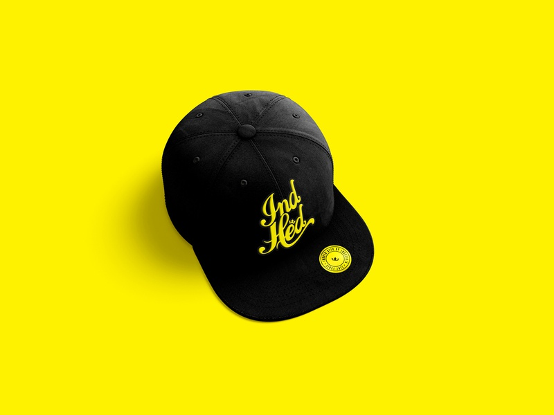 IndHed Hat identity design branding branding company industria branding hat script yellow logo beer indhed