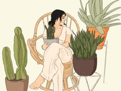 Plantlady | Woman sitting between plants