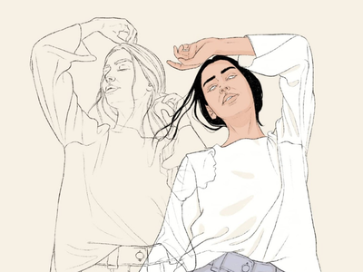 Fashion illustration of a woman with double exposure effect fashion illustration female fashion mental health woman branding freelance editorial illustration digitalart lineart linework artdirection freelancing illustration styleillustration