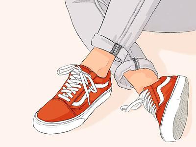 VANS Sneaker Illustration sports illustration brand illustration illustrator lifestyle illustration vans shoes fashion illustration freelance illustrator digitalart illustration