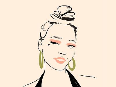 Brush pen portrait editorial art adobe fresco earrings make up stroke illustration brush pen beauty product beauty portrait painting digitalart female woman illustration freelance illustrator fashion illustration artwork