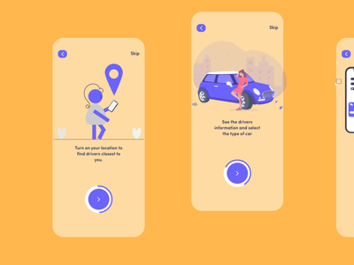 Onboarding for a mobile app ui ux bus booking taxi booking app taxi app