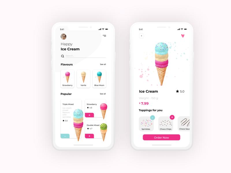 Design exploration for ice cream app iphone ios icecream app