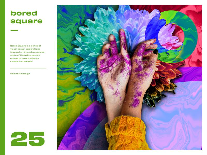 Bored Square 25 graphic digital art collage artwork glitter flower procreate digital art series square touch hands