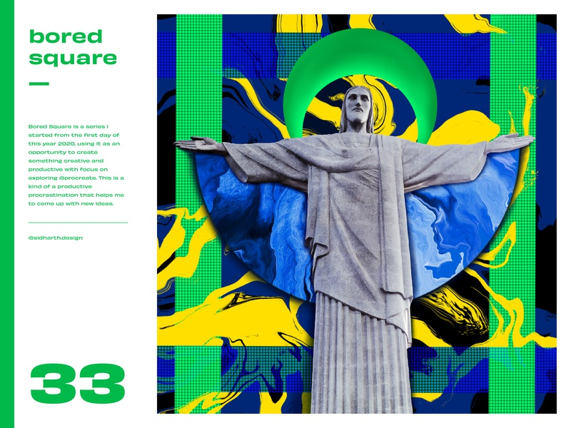 The Redeemer     Square 33 bored square green redeemer brazil procreate digital art graphic art artwork digital christian