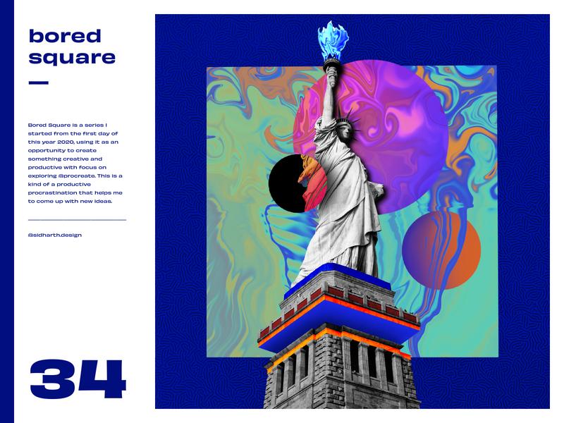 Liberated     Square No. 34 design graphic bored procreate digital collage new york liberty statue america
