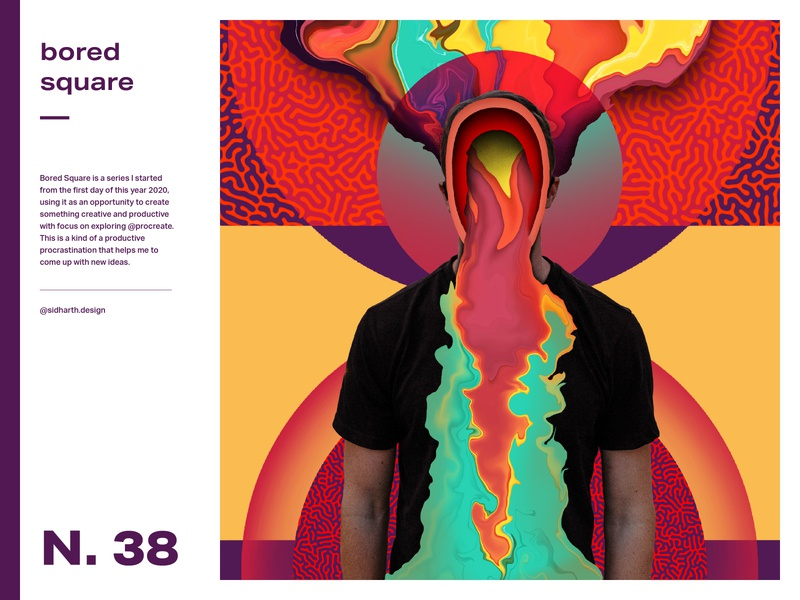 Obscurity     Square No. 38 purple design graphic procreate artwork digitalart digital ink liquid abstract square face obscure