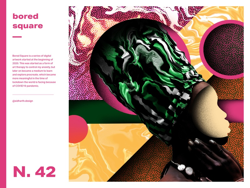 Mindful Meltdown     No. 41 graphic design squares abstract digital art digital procreate face africa mind meltdown square