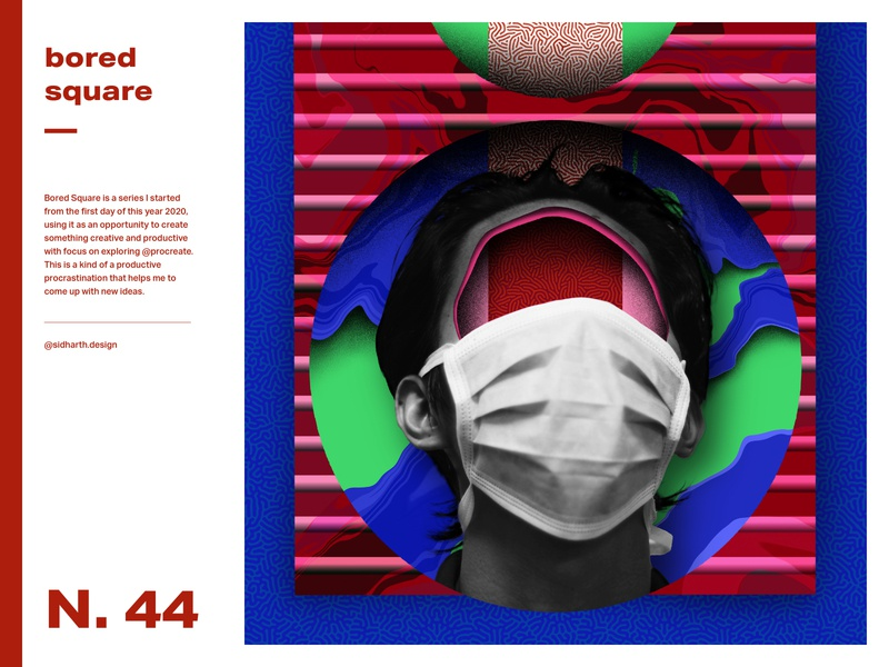 The Warrior     Square No. 44 circle design graphic digitalartwork digitalart artwork digital 2020 procreate square mask lockdown corona