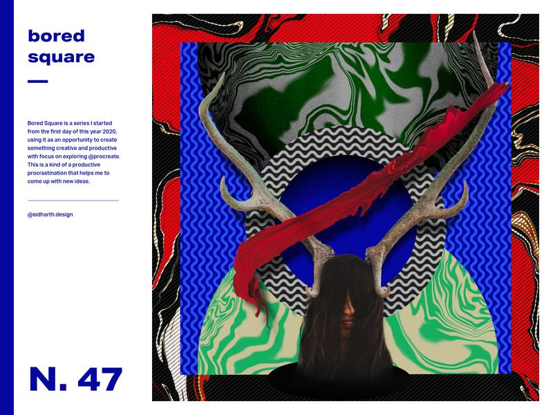 Overpowered Chaos design graphic girl horns pattern digitalart poster art poster artwork digital procreate power chaos