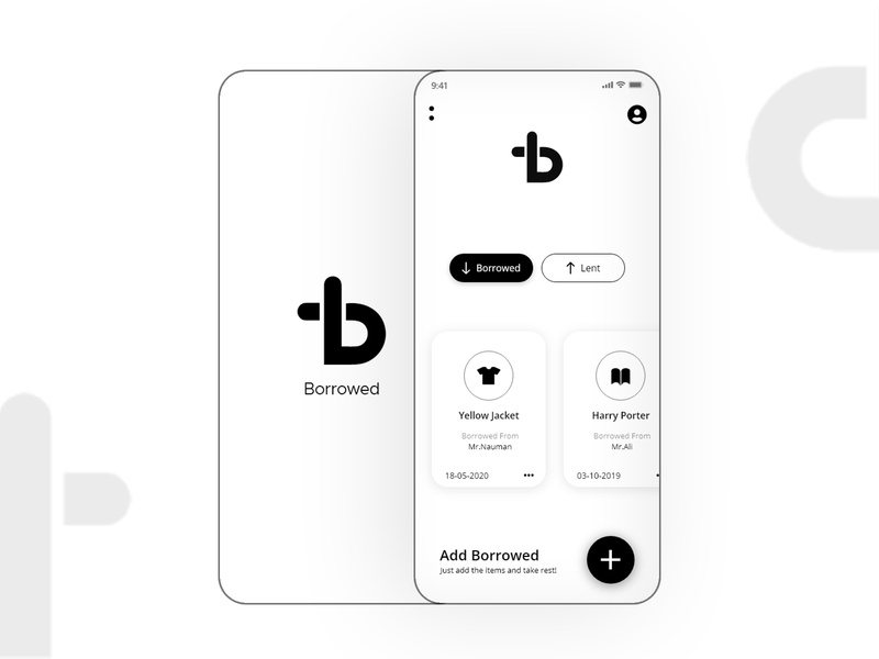 Borrowed App add reminder minimal design white black home splash lent borrowed app design ios flat custom design black and white minimal dailyui design app ux ui
