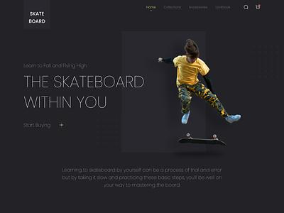 Skateboard Landing Page Exploration hero skate skateboard homepage online shop e-commerce website landing page ui mobile design ui  ux uidesign ui