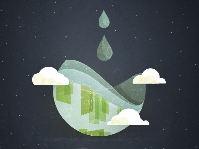 Filling the earth abstract texture clouds starts space water drip illustration earth