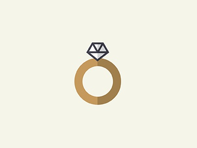 Diamond Ring proposal flat shadow jewelry illustration icon engagement ring diamond