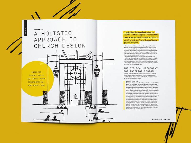 Church Design church sketch architectural illustration layout editorial illustration editorial design magazine