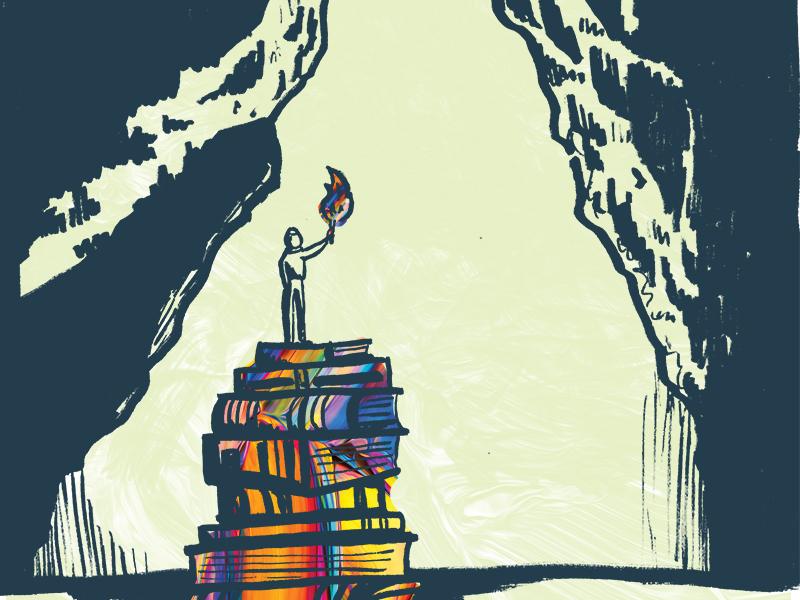 Seeking depth wisdom seeking searching light illustration paint torch cave books