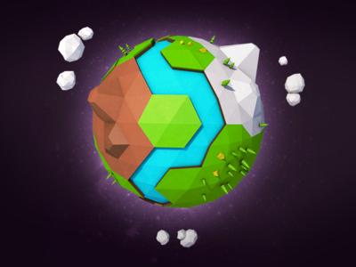 Tiny Planet landscape river space learning illustration lowpoly c4d cinema4d planet