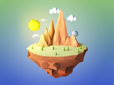 Floating Island lowpoly landscape island floating having fun learning cinema4d 3d