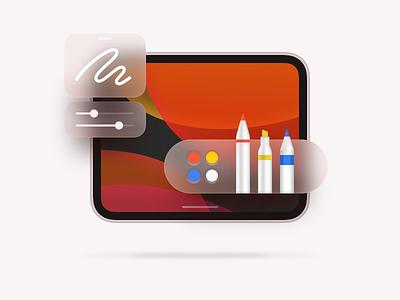 Illustration - iPad OS sketch ipados pen ipadpro pencil ui vector ios app illustration icon design