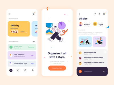 Light-mode – Task Management App app ux icon character design ui typogaphy vector illustration design