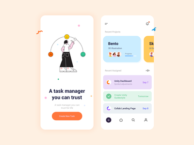 Light - mode – Task Management App charecter ux app icon character design ui typogaphy vector illustration design