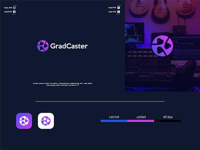 GradCaster logo design minimalist logo modern logo colorful business logo logo icon graphic design flat design minimal