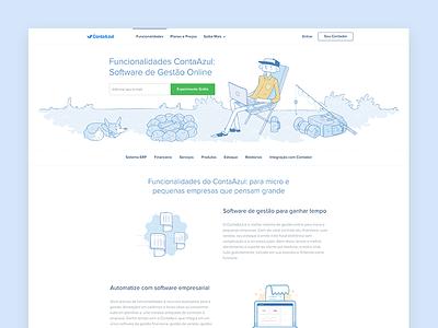 Contaazul Features Page como funciona funcionalidades ux ui site feautures contaazul