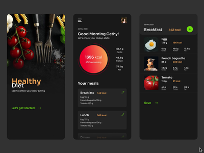 Diet Tracker App Concept tracker fitness mobile diary stats calories diet health food meals calories counter food app health app health care nutrition nutrition app diet app carbs protein fat