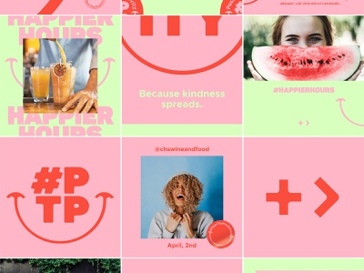 PTP Social Campaign smile campaign identity branding stickers happiness happy isolation greater instagram template kindness positivity positive social social media