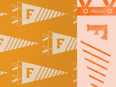 Fan Flag banner pennant branding illustration university varsity college gameday vintage fan flag