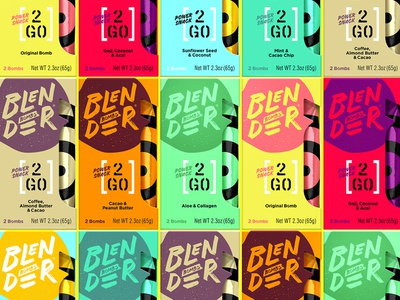 2 Go Fuel energy snack identity package packaging vibrant color rainbow bites fuel to go bombs blender branding bomb bb
