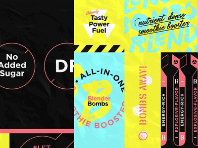Bb Dribbble 17 energy pop neon flavorful warning hazmat nuclear blender granola bomb