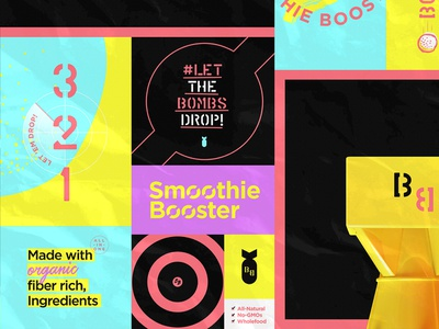 BB Support Graphics brand visual identity branding boost warning target bb neon retro nuclear organic bomb smoothie granola bombs blender