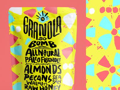 GSB Alt Concept pattern handlettering identity branding bag package packaging muesli bomb granola