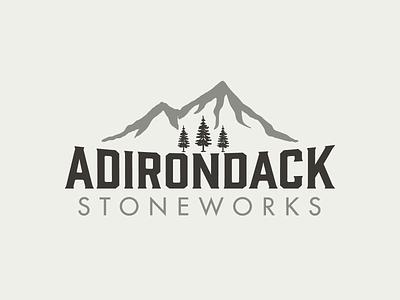 Adirondack Stoneworks Logo mountain adirondacks lake placid typography identity logo logo design branding