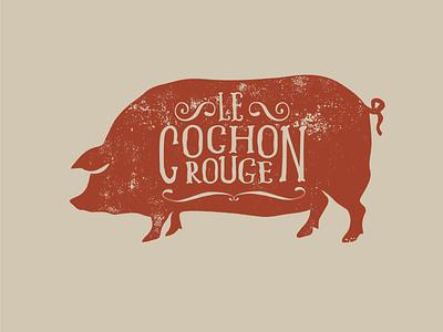 Le Cochon Rouge Logo illustration typography design identity logo logo design branding