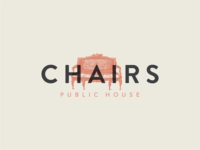 Chairs Logo Concept pub logo chairs public house chairs logo chairs public house bar logo georgia atlanta vector typography illustration design identity logo design logo branding