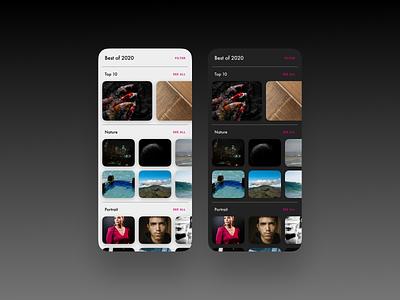 Best of 2020 - DailyUI 063 063 best of 2020 photo gallery dark mode minimal app ui daily ui design