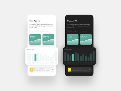 Statistics - DailyUI 066 066 chart design statistics report finance tile gradient dark mode minimal app ui daily ui design