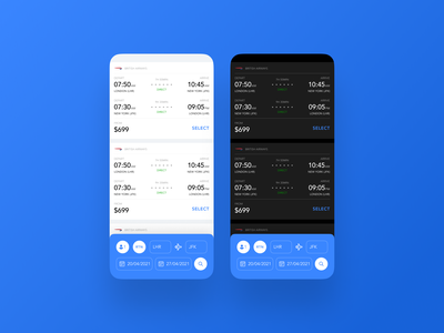 Flight Search - DailyUI 068 068 flight booking booking search flight search flight dark mode minimal app ui daily ui design