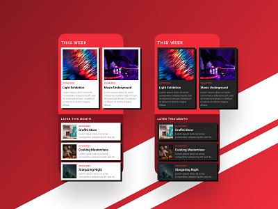 Event Listing - DailyUI 070 070 event listing events event red bright dark mode app ui daily ui design