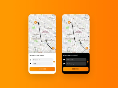 Itinerary - DailyUI 079 079 route taxi app itinerary map gradient dark mode app ui daily ui design