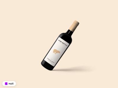 Free Red Wine Bottle Mockup