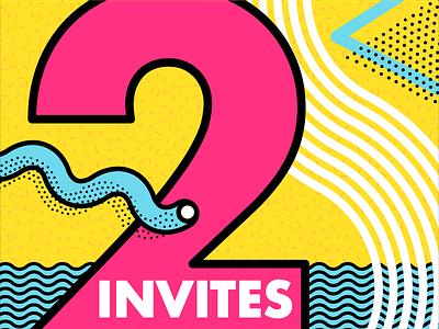 2 Dribbble Invites — Brian Erickson illustration vector line art yellow teal pink neon memphis invites dribbble invite invite