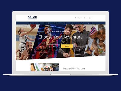 Valor High School ui angle home page learning academics web design website education school academic high school