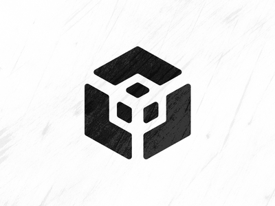 Logistical Cube grunge black  white black and white cubes cube logistics brand mark logo