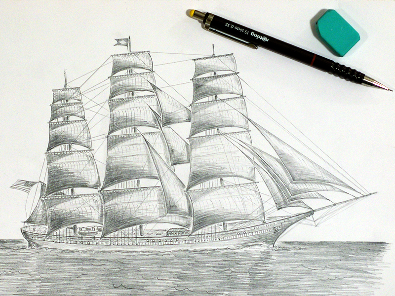 ...Flying Cloud! ship drawing pencil black  white paper flying cloud doodling clipper